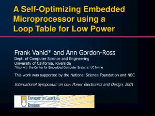 A Self-Optimizing Embedded Microprocessor using a Loop Table for Low Power