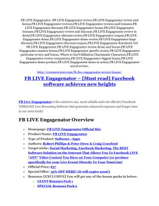 FB LIVE Engagenator review demo & BIG bonuses pack