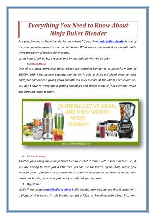 Everything You Need to Know About Ninja Bullet Blender