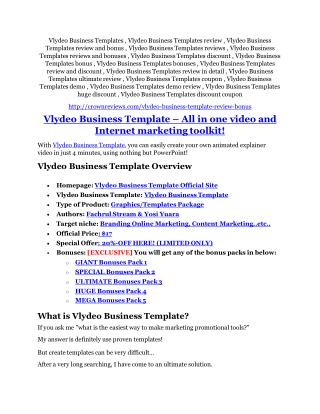 Vlydeo Business Templates REVIEW and GIANT $21600 bonuses