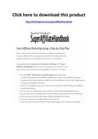 Super Affiliate Handbook Review - Scam or Legit - PDF eBook Download