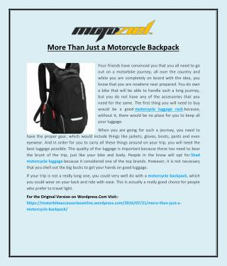 More Than Just a Motorcycle Backpack