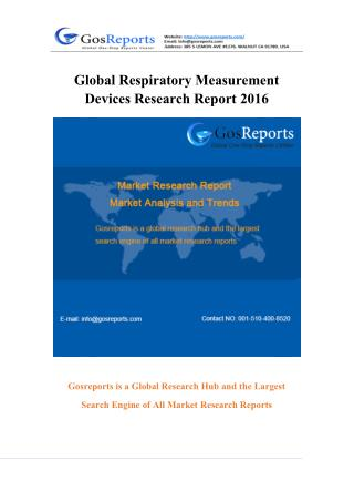 Global Respiratory Measurement Devices Market Research Report 2016