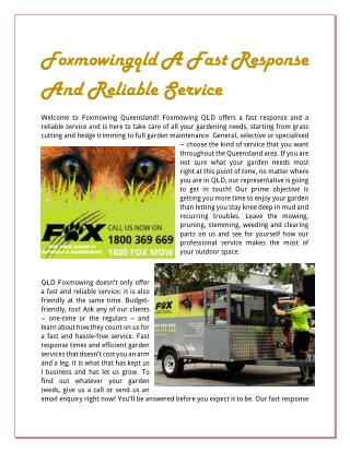 Foxmowingqld A Fast Response And Reliable Service
