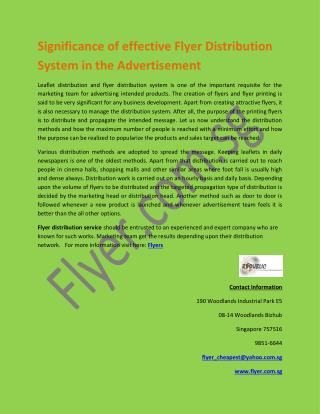 Significance of effective Flyer Distribution System in the Advertisement