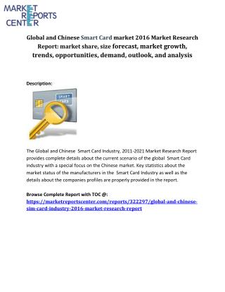 Detailed examination of the Global and Chinese Smart Card Industry Industry 2016 market research report