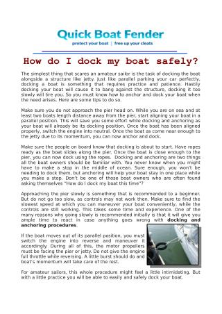 How do I dock my boat safely?