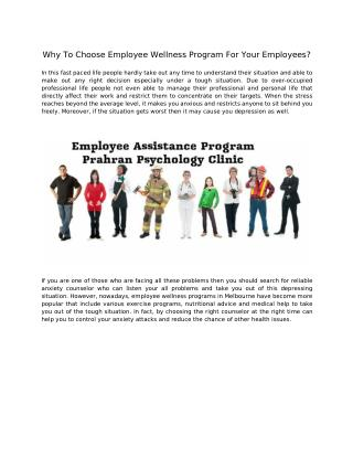 Why To Choose Employee Wellness Program For Your Employees?