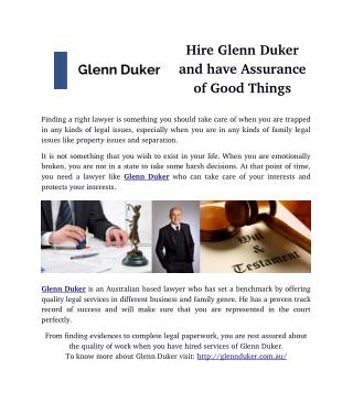 Hire Glenn Duker and have Assurance of Good Things