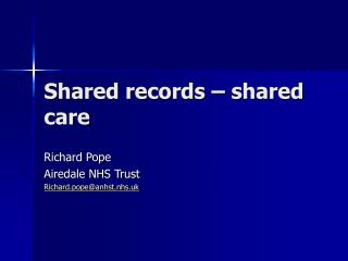Shared records – shared care
