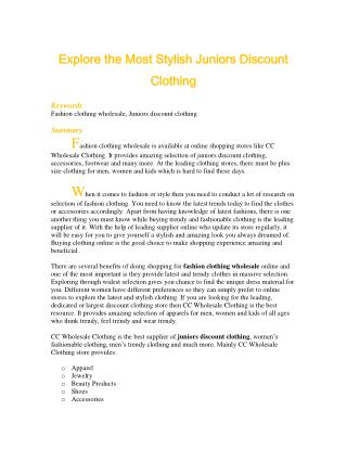Explore the Most Stylish Juniors Discount Clothing