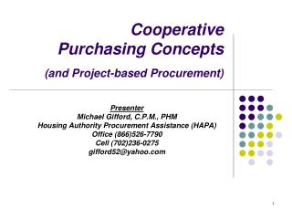 Cooperative  Purchasing Concepts (and Project-based Procurement)