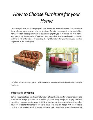 How to Choose Furniture for Your Home |  Wicker Paradise