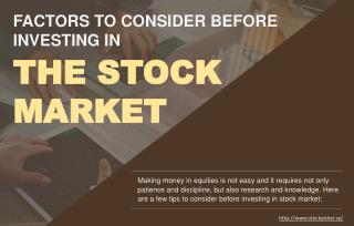 Points to Consider Before Investing in Stocks