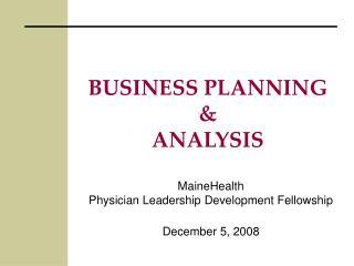 BUSINESS PLANNING & ANALYSIS