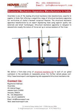 Structural Mechanics Apparatus Manufacturers India