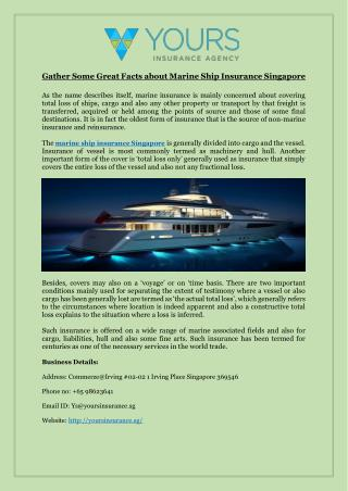 Gather Some Great Facts about Marine Ship Insurance Singapore