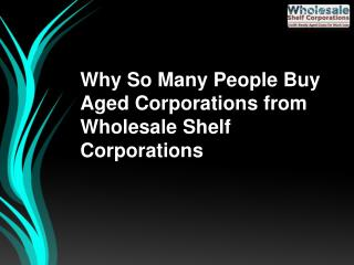Why So Many People Buy Aged Corporations from Wholesale Shelf Corporations