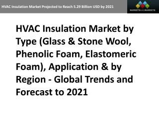HVAC Insulation Market Projected to Reach 5.29 Billion USD by 2021