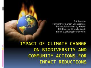 Impact of Climate Change on Biodiversity And Community Actions For ...