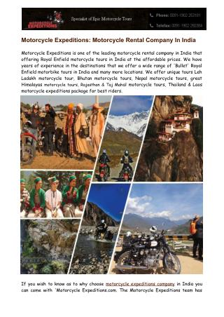 Motorcycle Expeditions - Motorcycle Rental Company In India
