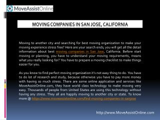 Looking for Top Moving Companies in San Jose, California?