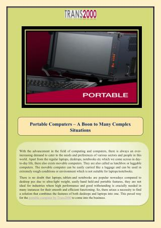 Portable Computers – A Boon to Many Complex Situations