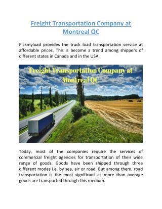 Freight Transportation Company at Montreal QC