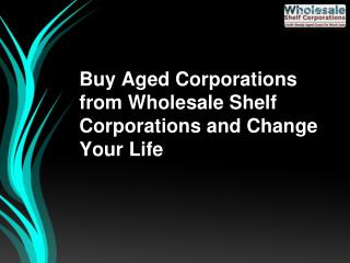 Buy Aged Corporations from Wholesale Shelf Corporations and Change Your Life