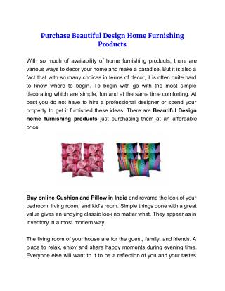 Purchase Beautiful Design Home Furnishing Products