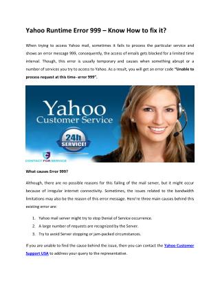 Yahoo Runtime Error 999 – Know How to fix it?