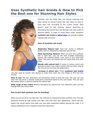 Uses Synthetic hair braids & How to Pick the Best one for Stunning Hair Styles