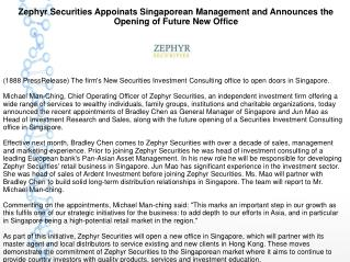 Zephyr Securities Appoints Singaporean Management and Announces the Opening of Future New Office