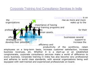 Corporate Training | Consultancy Services In India | Skill Arbor