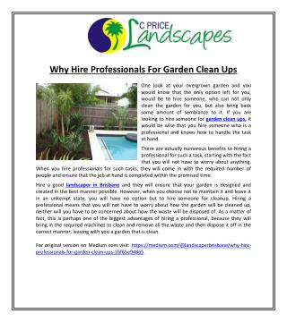 Why Hire Professionals For Garden Clean Ups