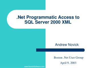 .Net Programmatic Access to  SQL Server 2000 XML