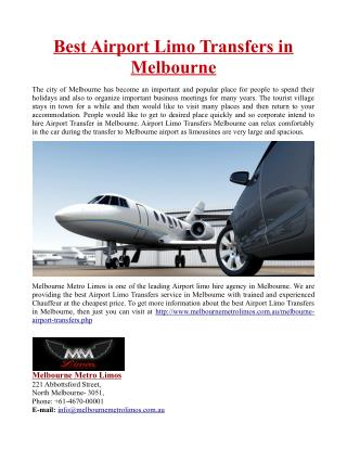 Best Airport Limo Transfers in Melbourne