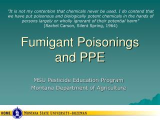 Fumigant Poisonings and PPE