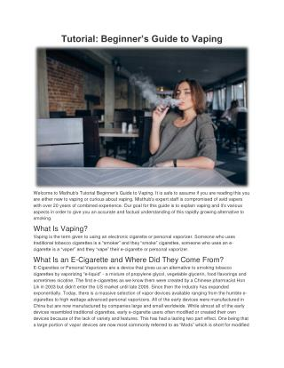 Tutorial Beginner's Guide to Vaping