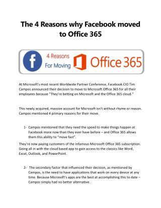 Migration Planning Tips for Facebook's Office 365 Move