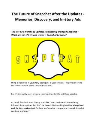 Snapchat Adds 'Memories' Section to Save Snaps and Stories for Later