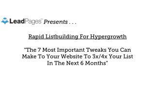 Rapid List Building Worksheet - Leadpages Unfunnel