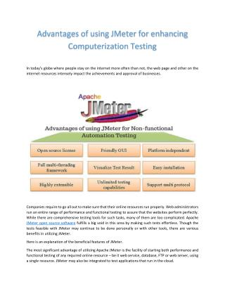 Advantages of using Apache JMeter for enhancing Computerization Testing