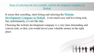 Steps of selecting the best suitable website development company in Mohali