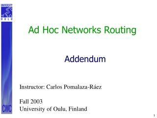 Ad Hoc Networks Routing