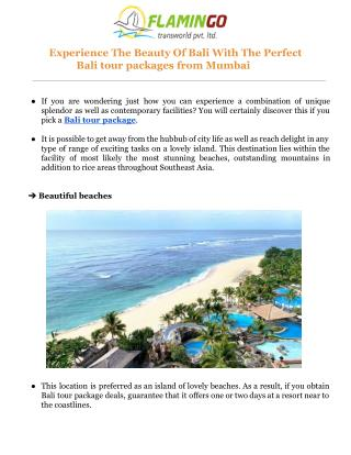 The Beauty Of Bali With The Perfect Bali tour packages from Mumbai
