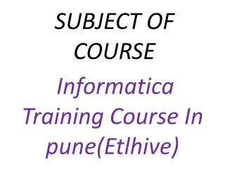 Informatica Training Course In pune