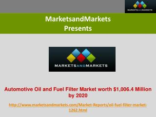 Filter Market worth $1,006.4 Million by 2020