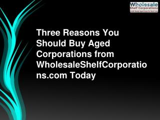 Three Reasons You Should Buy Aged Corporations from WholesaleShelfCorporations.com Today