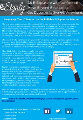 Encourage Your Client to Use the Reliable E-Signature Solution